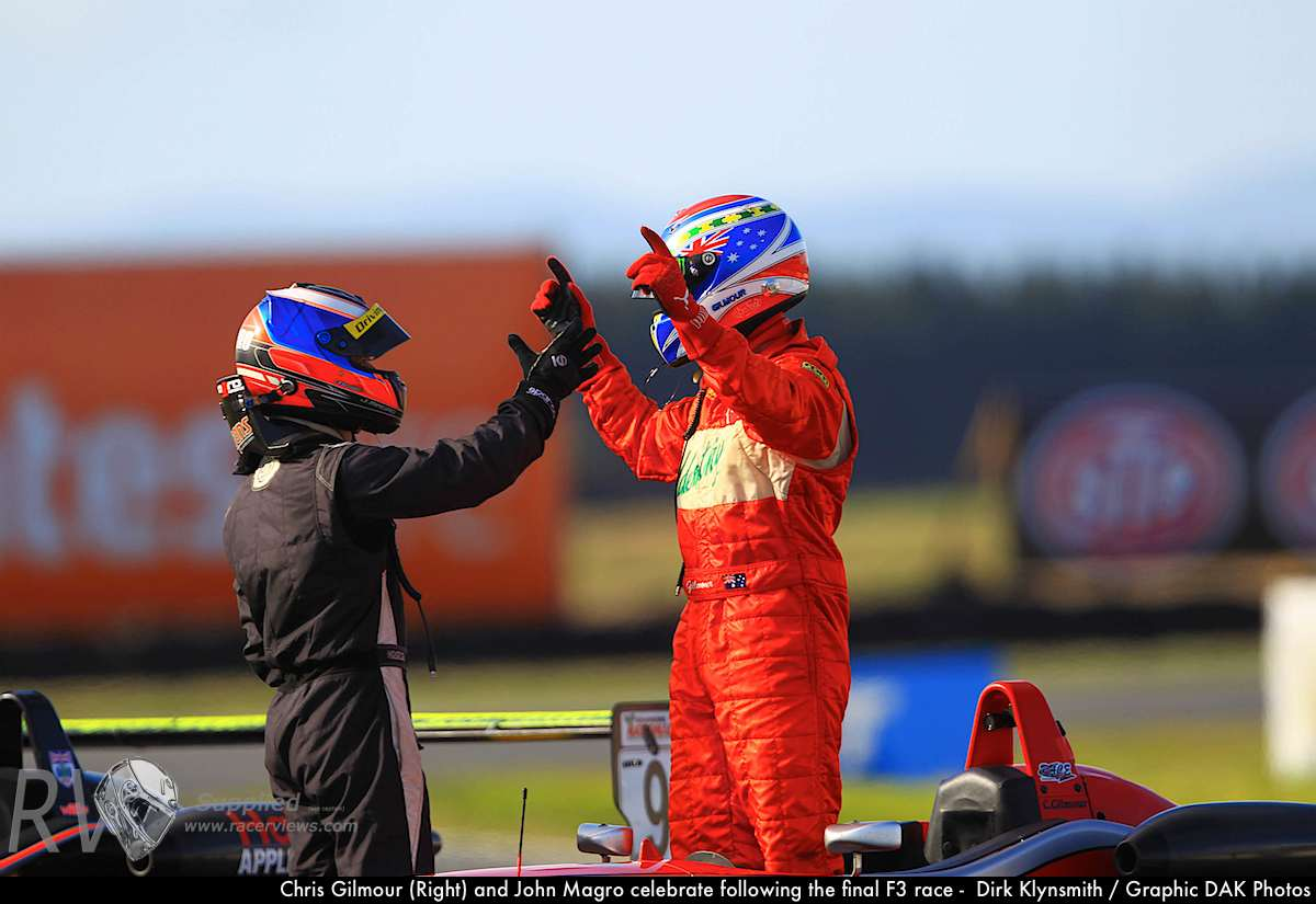 Chris Gilmour (Right) and John Magro celebrate following the final F3 race - Dirk Klynsmith / Graphic DAK Photos