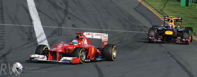 Alonso's Ferrari leads Webber's Red Bull at Albert Park (c) Ferrari/ERCOLE COLOMBO