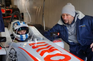Sospiri with driver, Sergy Sirotkin testing an Euronova F3 car at Monza (courtesy of Euronova Racing)