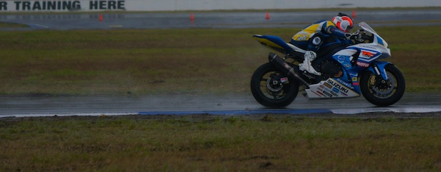 Josh Waters in a very wet ASBK practice session at Queensland Raceway