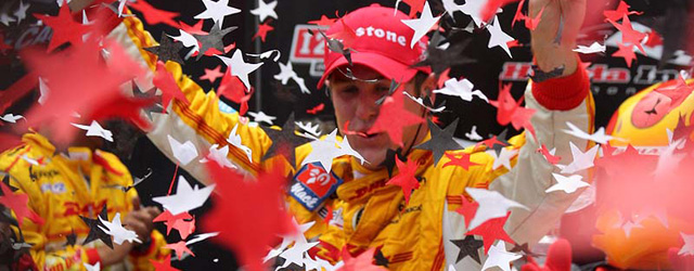 Ryan Hunter-Reay celebrates victory at the Honda Indy Toronto and now leads the IZOD Indycar point standings