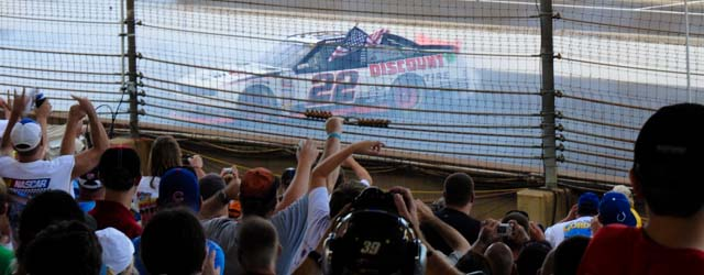 Brad Keselowski celebrates his win in the Nationwide Cup at Indy
