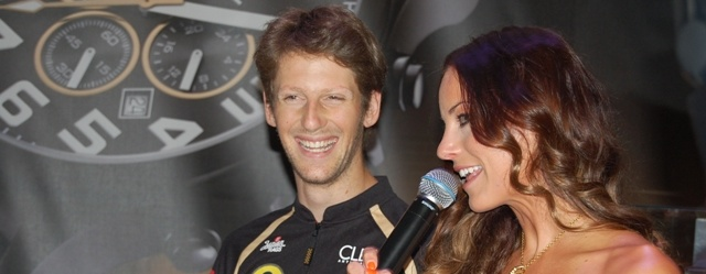 Romain Grosjean chats to the MC at a TW Steel and Lotus F1 event