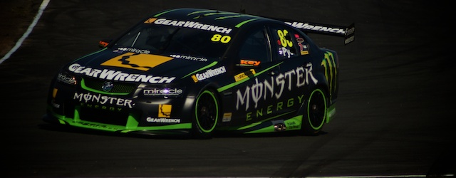 Scott Pye in the Monster Energy Commodore enters turn 6 at Queensland Raceway