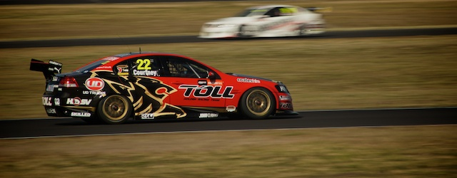 James Courtney in the HRT Holden Commodore in practice at Queensland Raceway