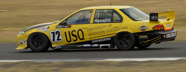 Nathan Assaillit in his EL Falcon at Queensland Raceway