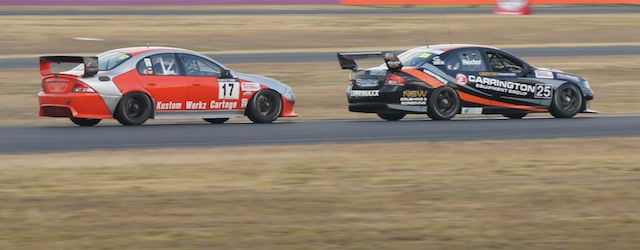 The Kumho V8 Touring Car Championship featuring ex-V8 Supercars turned on close racing at Queensland Raceway