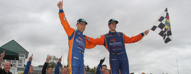Max Angelelli and Ricky Taylor celebrate their race win at Lime Rock