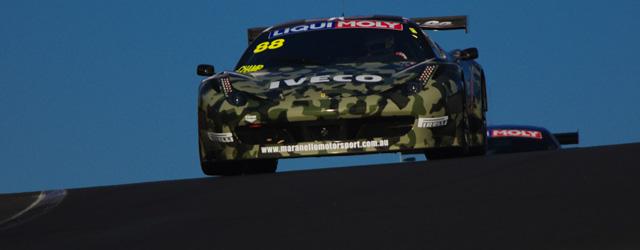 Allan Simonsen in the camouflage Maranello Motorsport Ferrari 458GT3 goes over Skyline