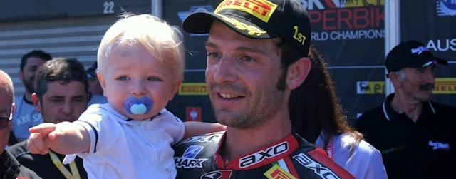 Sylvian Guintoli took out his first race for the Aprillia Factory team