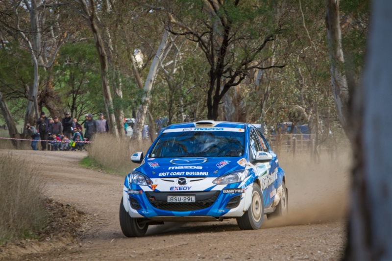 Brendon Reeves steers around the Scouts Rally SA stages in his Mazda 2
