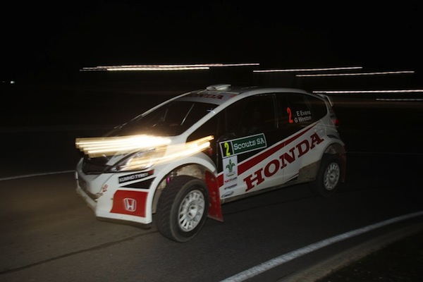 Eli Evans rallies his Jazz during a night stage at Rally SA (Photo: ARC/Stuart Bowes)