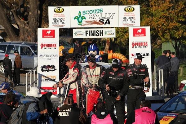 Eli Evans celebrates his record breaking win at Rally SA (Photo: ARC/Stuart Bowes)