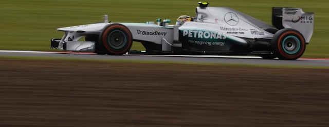Lewis Hamilton took pole and looked good for a home win, until his tyre went boom (Photo: Mercedes)