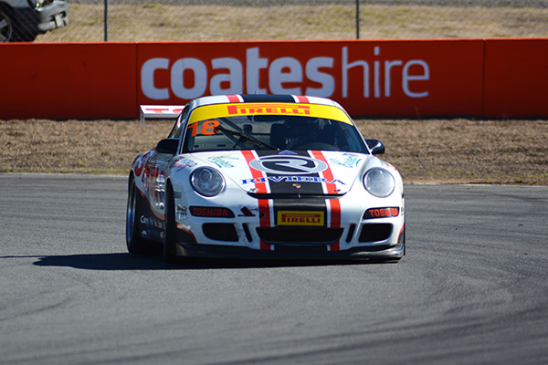 My chariot - Michael Almond's Toshiba Porsche 911 GT3 Cup.  Four laps around Queensland Raceway really showed me how you get addicted to being in these things. (Photo: Sam Tickell)