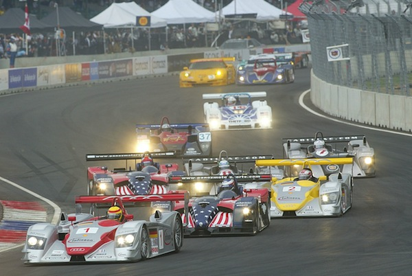 The Audis led from the front from the Paoz and Cadillac entries, but the Panoz would win in the end (Photo: Audi Motorsport)