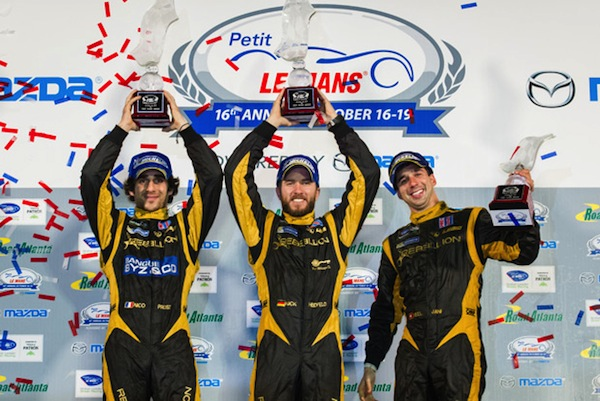 The Rebellion team of Nicolas Prost, Nick Heidfeld and Neel Jani celebrate winning the final ALMS race (photo: Rebellion Racing)