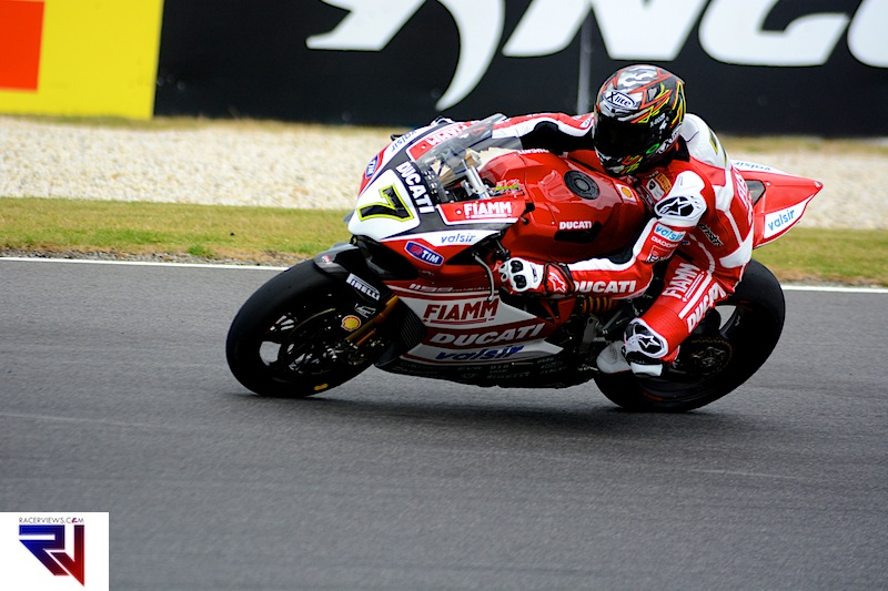 Chaz Davies had a fall in the Friday sessions but showed his potential on the Ducati