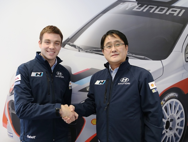 Hayden Paddon is preparing for a frontline WRC career with Hyundai. Here he is joined by Hyundai Motorsport President Mr Choi