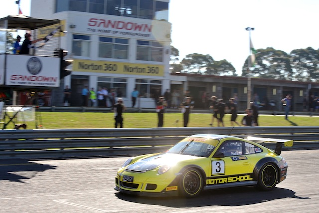 Ben Foessel crosses the line to take second in class at the Australian GT opener