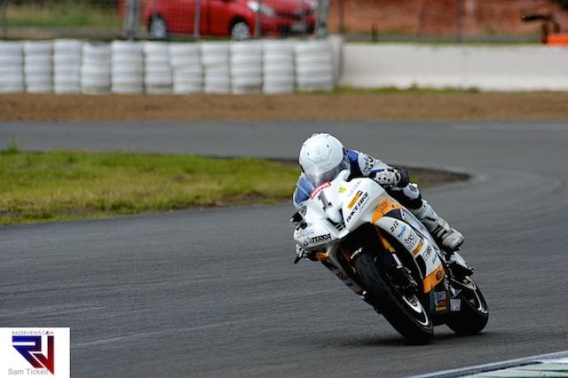 Daniel Falzon took out a thrilling Supersport race at Queensland Raceway