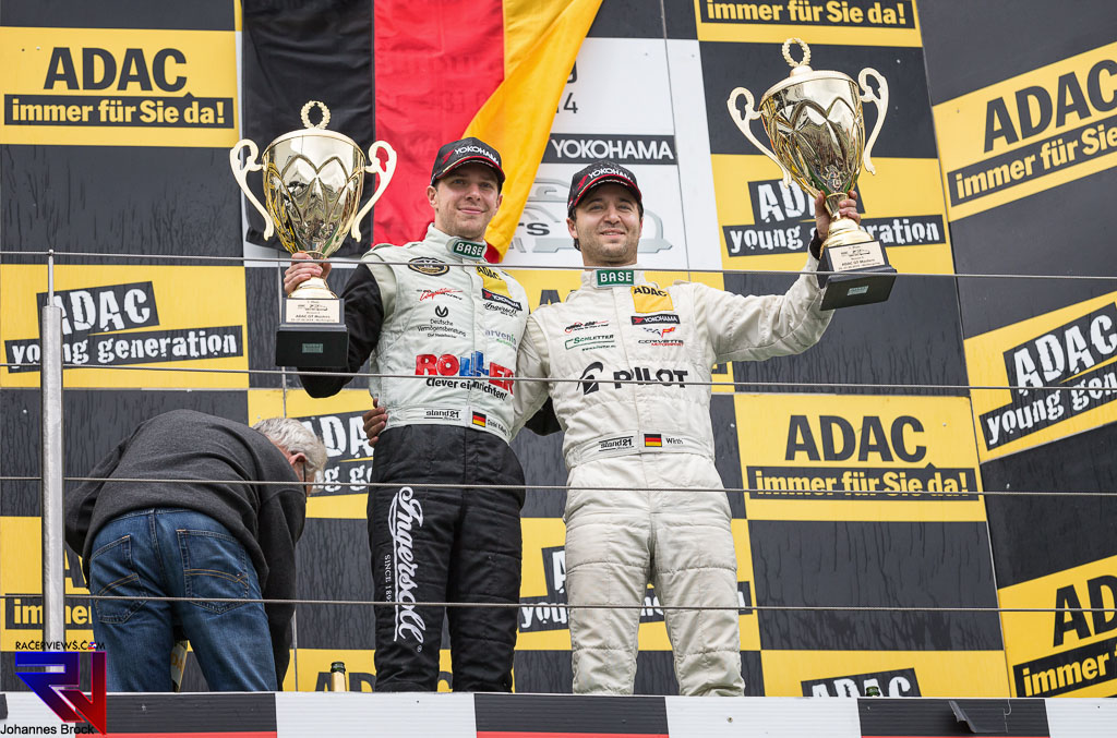 Andreas Wirth celebrates his win with Daniel Keilwitz at the Nurburgring (photo: Johannes Brock)