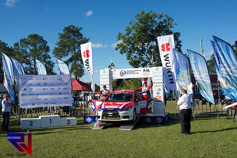 Aksa over the ceremonial finish at the International Rally of Queensland - taking third