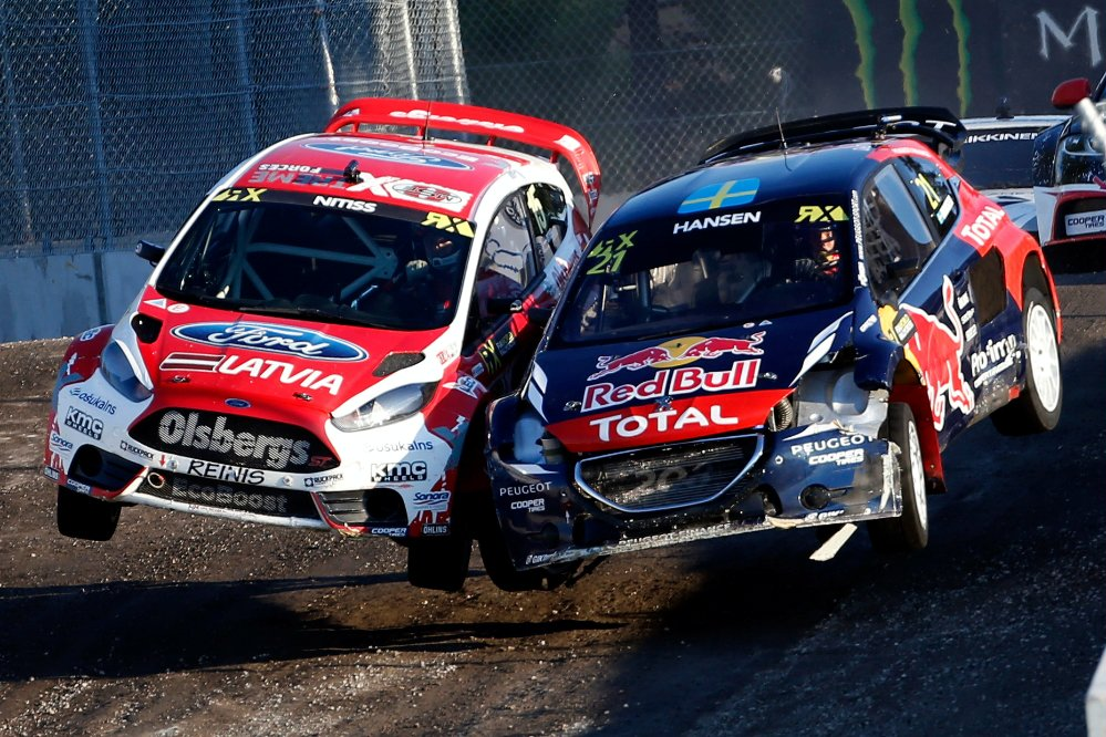Timmy Hansen performs at the FIA World Rallycross Championship Trois-Rivieres Circuit in Canada on the 09th August 2015 Photographer Credit     @tWorld / Red Bull Content Pool
