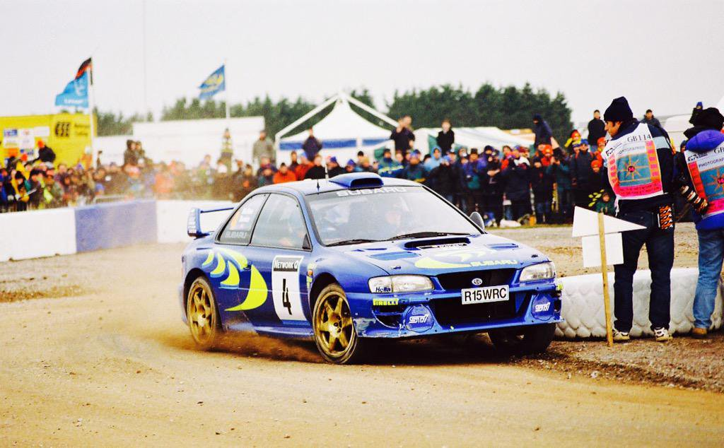 Alister McRae on his WRC debut in the Subaru Impreza. He was running as high as second behind Richard Burns before retiring