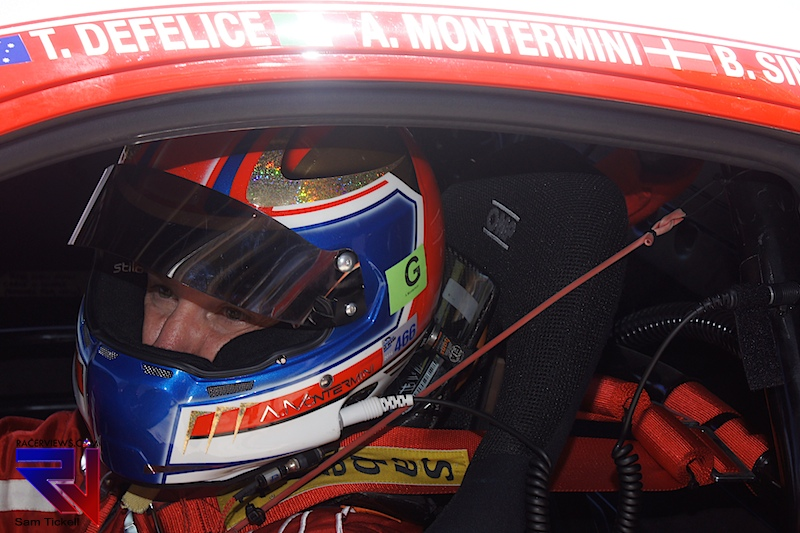 Andrea Montermini at home in the cockpit of the Vicious Rumour Ferrari 458 GT3 - a car that he is at home with. Photo CreditL Sam Tickell