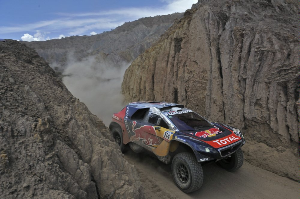 Sebastien Loeb (FRA) from Team Peugeot Total performs during stage 5 of Rally Dakar 2016 from Jujuy, Argentina to Uyuni, Bolivia on January 7, 2016. Photographer Credit DPPI / Red Bull Content Pool
