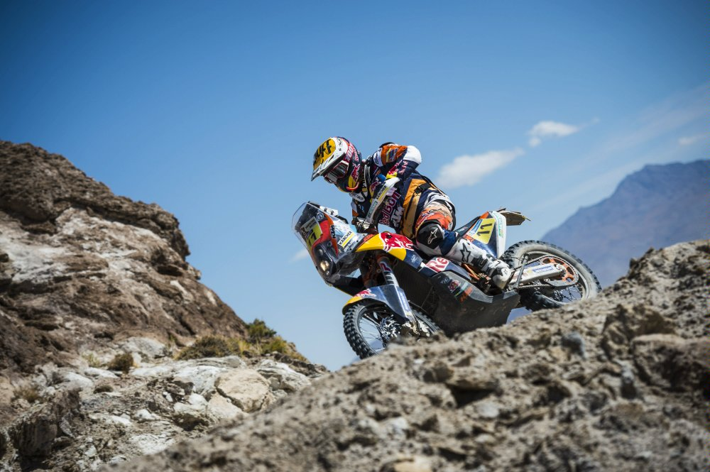 Jordi Viladoms (ESP) of Red Bull KTM Factory Team races during stage 06 of Rally Dakar 2016 around Uyuni, Bolivia on January 8, 2016 Photographer Credit Marcelo Maragni/Red Bull Content Pool