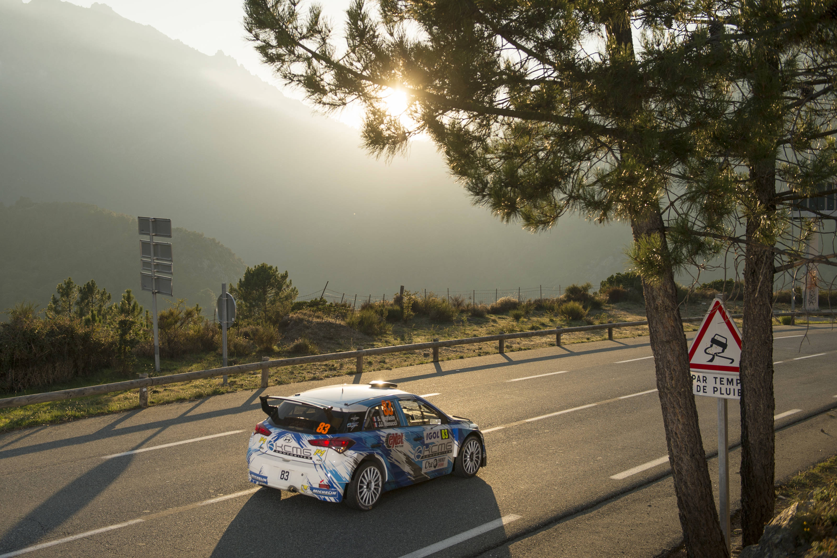 Stephane Sarrazin (FRA) drives on the roadsection during FIA World Rally Championship 2016 France in Ajaccio , France on September 30, 2016. He was deubuting the Hyundai i20 R5 on the event but retired to due mechanical issues. Photo: Jaanus Ree/Red Bull Content Pool